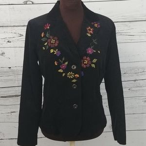 Erin London Black Floral Corduroy Blazer Jacket